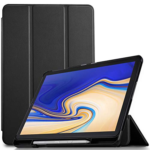 IVSO Cover Case for Samsung Galaxy Tab S4 10.5 T830N/T835N, Slim PU Cover Case with Auto Wake/Sleep Function for Samsung Galaxy Tab S4 SM-T830N/T835N 10.5 inch, Black