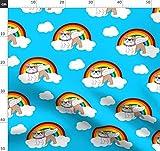 Bulldogge, Englisch, Regenbogen, Engel, Hund, Hunde Stoffe