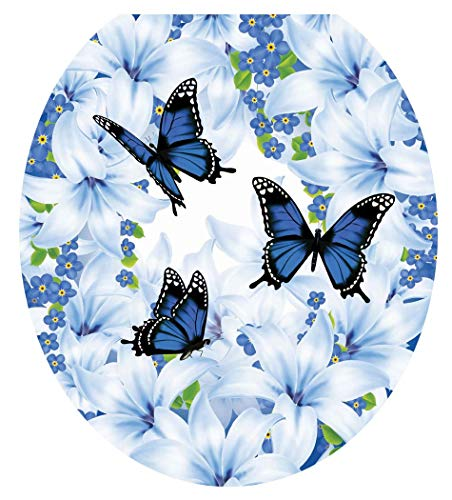 Lena Fiore Toilet Tattoo - Removable/Reusable Decorative Toilet Tattoo Lid Decal/Applique, Lily Blues (Round/Standard TT-1158-R)