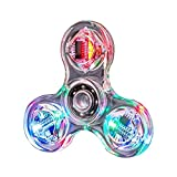 HBBOOI Mano Spinner Crystal Light Led Spinner Fidget Juguete Mano Tri Spinner Solo Dedo rápido Rodamientos Ansiedad ReliefToys Dedo Dedo Gyro Juguete Spinner for Niños y Adultos