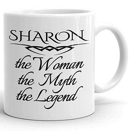 Sharon Kaffeetasse, personalisiertes Geschenk, The Woman the Myth The Legend – 325 ml, Weiß