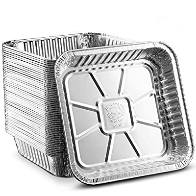 """[50 Pack - 8""""x8""""] Propack Disposable Aluminum Foil Meal Prep Cookware Square Pans, Oven, Toaster, Grill, Cooking, Roasting, Broiling, Baking, Event, Take Out, Restaurant"""