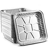 [50 Pack - 8'x8'] Propack Disposable Aluminum Foil Meal Prep Cookware Square Pans, Oven, Toaster, Grill, Cooking, Roasting, Broiling, Baking, Event, Take Out, Restaurant