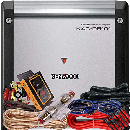 Kenwood KAC-D5101 Class D Mono Amplifier 1000 Watts Max Power 2 Ohms Stable + 4 Gauge Red Kit + Gravity Magnet Phone Holder