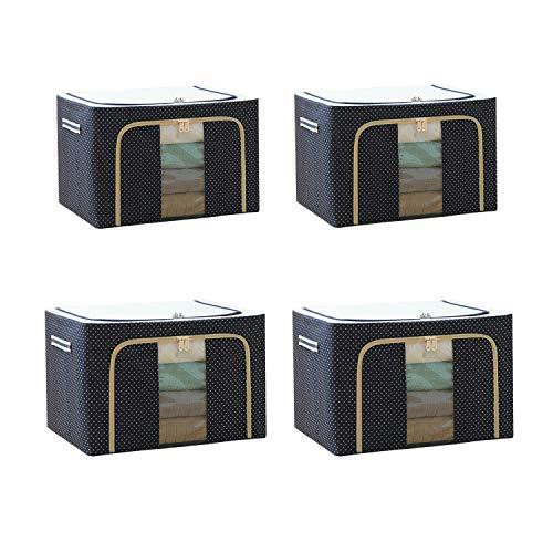 Steel Frame Storage Box Oxford Cloth Storage Box Quilt Storage Box Folding Wardrobe Fabric Extra Large Storage Bag (Navy:72L x 2Pcs + 66L x 2Pcs)