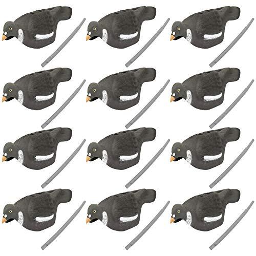 Nitehawk - Lot de 12 appelants Pigeons Demi-Coques - pour la Chasse/Le tir - très réaliste - Sac de Transport Inclus - 40,5 cm