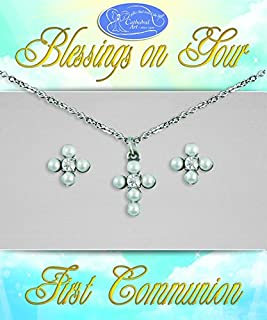 Cathedral Art JS108 Communion and Confirmation Pearl Cross Set with Pendant and Earring Set