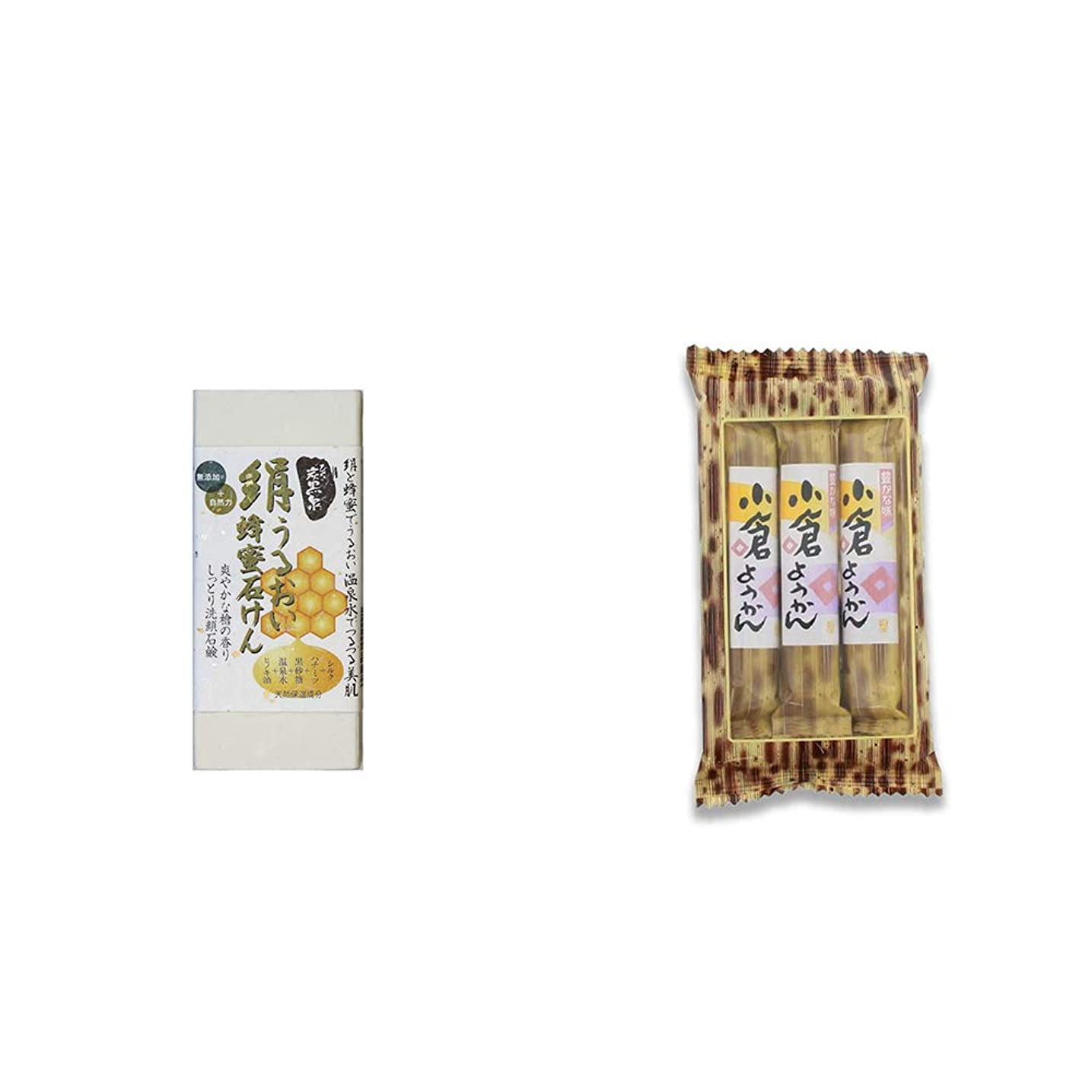 ファンシーいっぱいに勝る[2点セット] ひのき炭黒泉 絹うるおい蜂蜜石けん(75g×2)?スティックようかん[小倉](50g×3本)