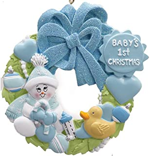 Personalized Baby's 1st Christmas Wreath Tree Ornament 2019 - Snowman Blue Glitter Hat Hold Candy-Cane Toy Heart Boy's Love New Mom Shower Duck Grandson - Free Customization (Blue)