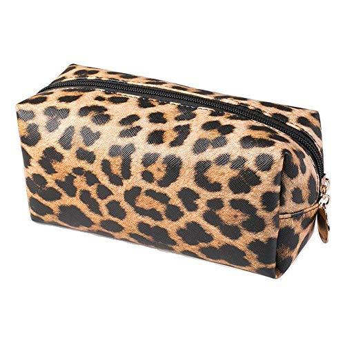 Kosmetiktasche mit Leopardenmuster, leicht, tragbar, Make-up-Tasche für Frauen, Reisen, Outdoor, Bürsten, Aufbewahrung, Kulturbeutel, PU-Leder