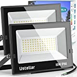 Ustellar 2 Pack 80W LED Flood Light IP66 Waterproof Outdoor Super Bright Security Lights, 500W Halogen Bulb 60W Led 4pack Equiv, 5000K Daylight White Outside Floodlight Landscape Wall Lights