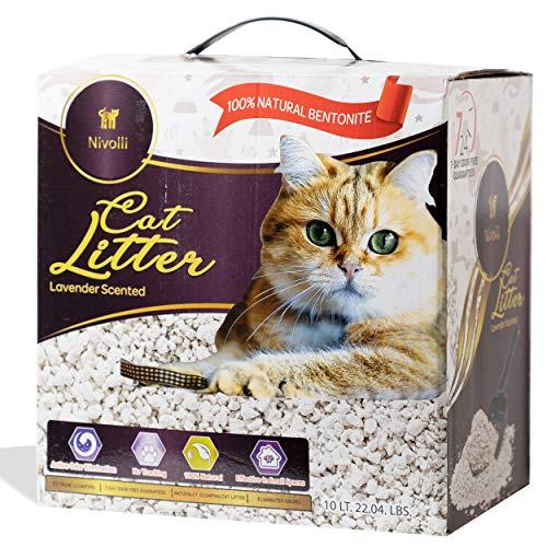 Nivolli 100% Natural and Pure Bentonite Clumping Cat Litter Extreme Odor Control 19lb Box (Lavender)
