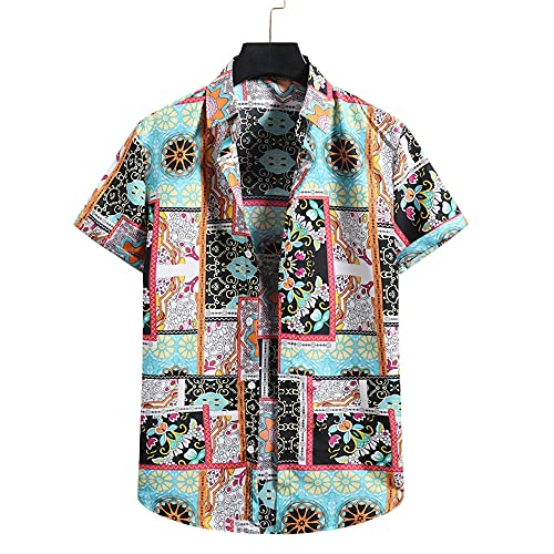 T-Shirt Hombre Manga Corta con Estampado Moda Verano Hombre Shirt Transpirable Botones Básicos Hombre Shirt Ocio Personalidad Moderna Hawaii Hombre Shirt Playa B-Photo Color L