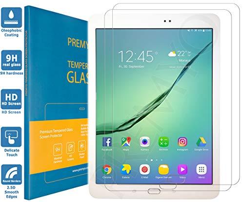 PREMYO 2 Stück Panzerglas Schutzglas Displayschutzfolie Folie kompatibel für Samsung Galaxy Tab S2 9.7 HD-Klar 9H Anti Kratzer Blasen Fingerabdrücke