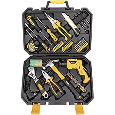 DEKOPRO 108 Piece Tool Set General Household Hand Tool Kit with Gardening Pruning Cut Shear,3.6V Cordless Electric Screwdriver & Plastic Toolbox Storage Case