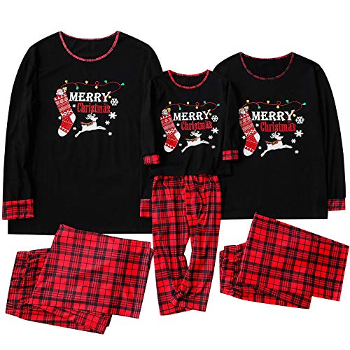Family Matching Pajamas Sets Christmas PJ's with Letter Printed Plaid Long Sleeve Tee and Pants Loungewear for Women Men Kids (Black, Men/L)