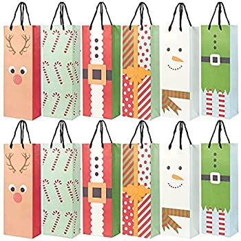 Wine Bottle Gift Bags for Christmas 6 Cute Designs  5.5 x 15 x 3.2 In 24 Pack