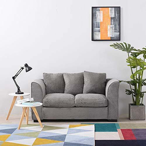 Wellgarden Jumbo Cord Corner Sofa, 2 Seater Fabric Sofa Settee, Full Chenille Cord Fabric Sofa Left or Right Chaise Couch (2 Seater Grey Sofa)