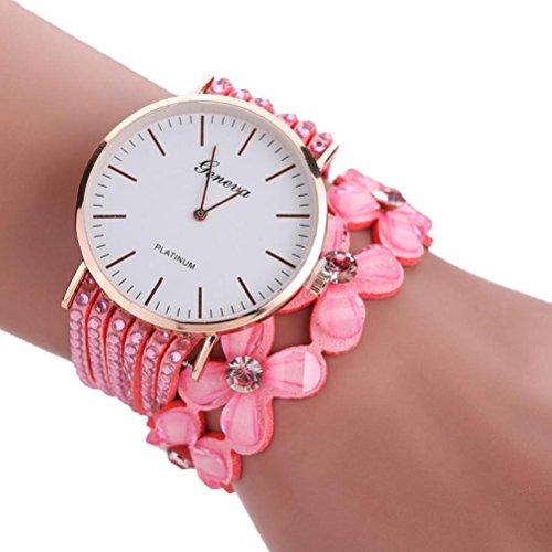 Xinantime Relojes Pulsera Mujer,Xinan Flores Reloj de Cuarzo Brillante (Rosa)
