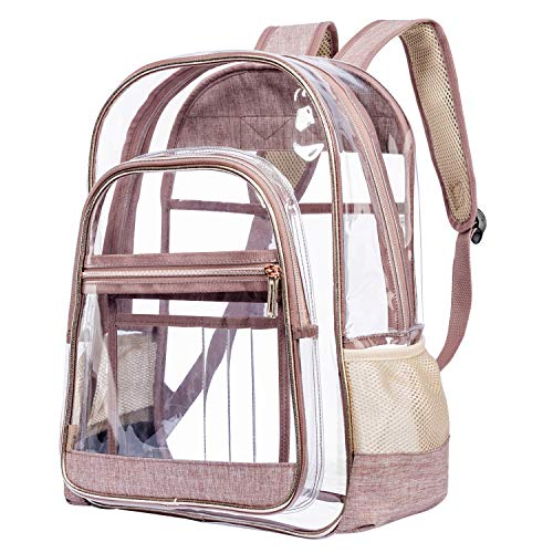 NiceEbag Upgraded Version - Clear Backpack for School Work Travel Heavy Duty Transparent Backpack Large Clear Bookbag for Women Men Girls Boys Adults, TSA Approved, See Through, Rose Gold