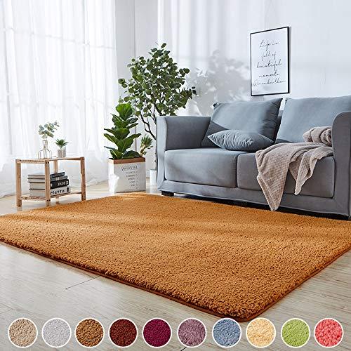 Flauschiger hochflor Teppich Gelb 50 x 80 cm Teppiche Hochflor Shaggy Schadstoff geprüft 8 Teppichgreifer Antirutschmatte 10 Farben und 151 Grössen