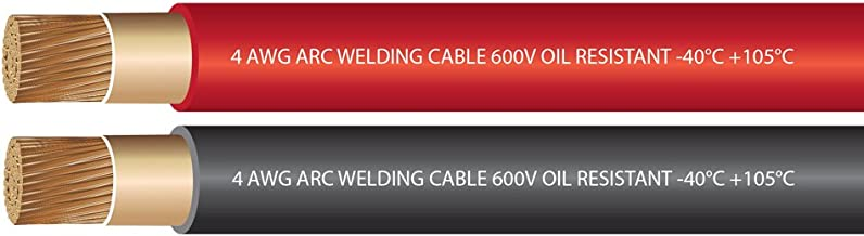 EWCS 4 Gauge Premium Extra Flexible Welding Cable 600 Volt 25 Feet Each Black+Red