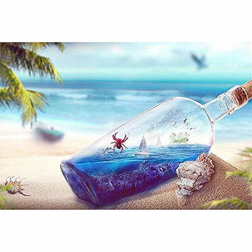 5D Diamond Painting Kit Completo Drill,Borraccia da spiaggia DIY Pittura Diamante Adulti Bambini Cristallo Strass Ricamo Punto Croce Tela Art Crafts for Home Wall Decor Round Drill,60x80cm(24x32in)