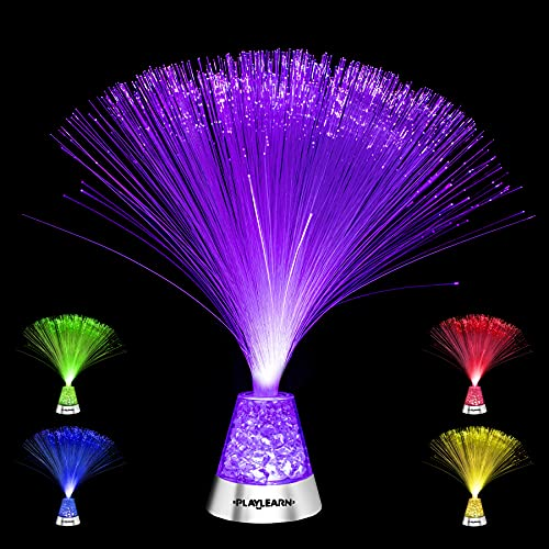 Playlearn Fiber Optic Lamp Color Changing Crystal Base - USB/Battery Powered - 13 Inch - Fiber Optic Centerpiece Sensory Light