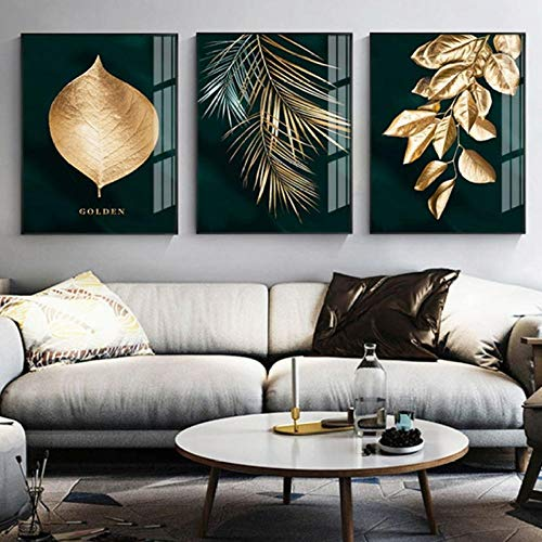 XRKITGD Abstract Golden Plant Leaves Picture Wall Poster Modern Style Canvas Print Painting Art Aisle Living Room Unique Decoration 50x70cmx3 unframed