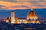 Twilight at Duomo in Florence, Italy A-91437 (9x12 Art Print, Wall Decor Travel Poster)