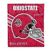 Flannel Throw Blanket University Logo Print Warm Blankets Super Soft 50'' × 60'' (Ohio State Buckeyes)