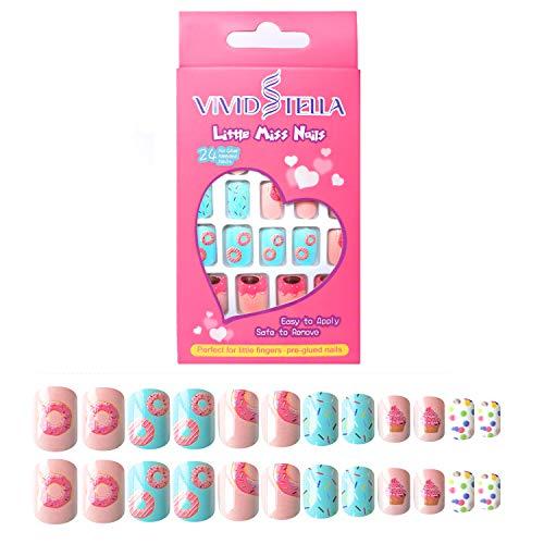 Falsche Nägel Selbstklebende Künstliche Fingernägel Set Donuts für Mädchen und Kinder