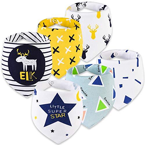 ZYUPHY Baby Lätzchen Dreieckstuch Sabberlätzchen 100% Bio-Baumwolle Saugfähig mit 2 Verstellbares Druckknopf Weich Halstücher Drool Lätzchen,für Mädchen Jungen 6 Stück