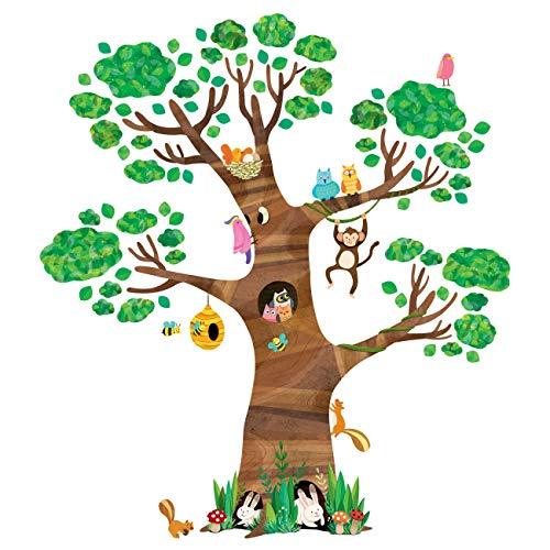DECOWALL DL-1709 Gigant Groß Baum Waldtiere Tiere Wandtattoo Wandsticker Wandaufkleber Wanddeko für Wohnzimmer Schlafzimmer Kinderzimmer