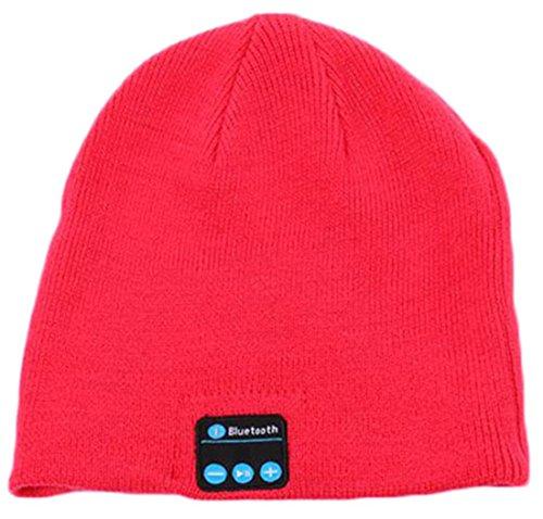 iSuperb Bluetooth muts hoofdband voor dames en heren wintergebreid sport rood
