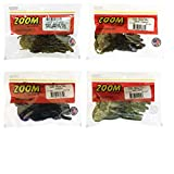 Bundle: Zoom Baby Brush Hog Bait Lures - 5 1/4' Watermelon Red 12 Pack, 5 1/4' Green Pumpkin 12 Pack, 5 1/4' June Bug 12 Pack and 5 1/4' Baby Bass 12 Pack