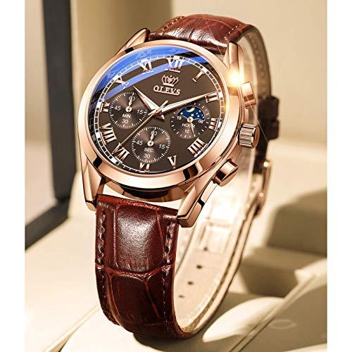 Reloj de pulsera para hombre de cuarzo, correa de piel, resistente al agua hasta 30 m, moderno reloj para hombre