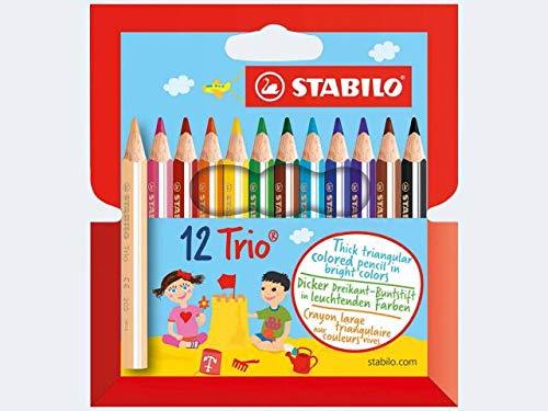 STABILO Dreikant-Buntstifte Trio dick, kurz, 12er Etui, Sie erhalten 1 Packung, Packungsinhalt: 12 er Etui