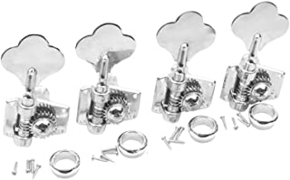 Musiclily 4-in-line 4R Vintage Open Gear Bass Tuners Machine Head Tuning Keys Pegs Set Right Hand for Jazz Precision P Bass Replacement, Chrome