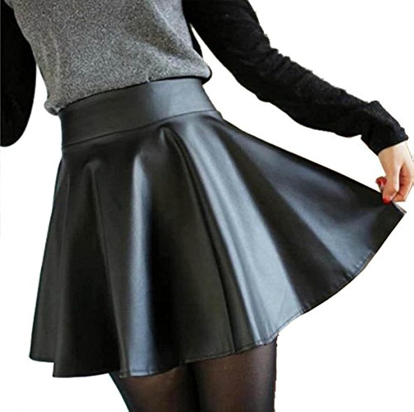 含むちらつき勤勉フェイク レザー ミニ スカート プリーツ ブラック PU 美脚 (L)