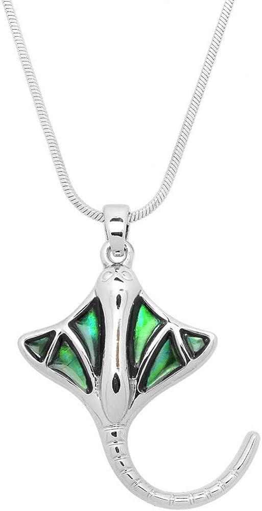 Liavy's Manta Ray Charm Pendant Fashionable Necklace - Abalone Paua Shell - 17