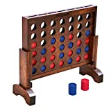 GoSports Premium 4 in a Row Game - Choose Between Classic White or Dark Stain - 1 Foot Width – with Connect Coins, Portable Case and Rules
