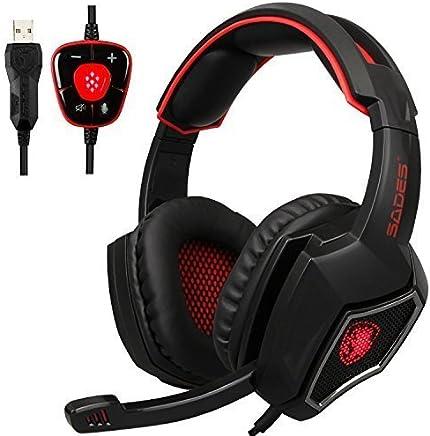 OEVAN Spirit Wolf 7.1 7.1 Canale virtuale pc Gaming Cuffie Stereo Surround USB per Orecchio Cuffie con Microfono Un Controllo del Volume antirumore LED (Black Red) - Trova i prezzi più bassi