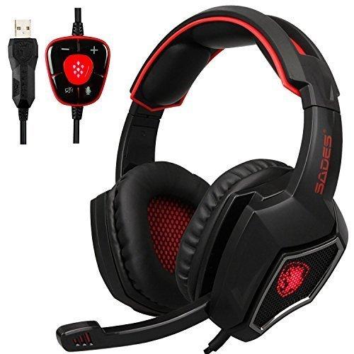 Spirit Wolf 7.1 Canal Virtual Surround Stereo USB PC Gaming Headset Wired sobre la Oreja los Auriculares con Control de Volumen de microfono con cancelacion de Ruido de luz LED (Black Red)