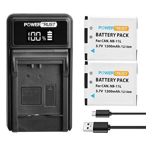 PowerTrust 2Pack NB-11L NB-11LH NB11L Akku und LED-USB-Ladegerät für Canon IXUS 285 HS IXUS 265 180 132D 140 155 150 175 280 165 160 145 SX400 A2300 A2400 A2500 A2600 A3400 A3500