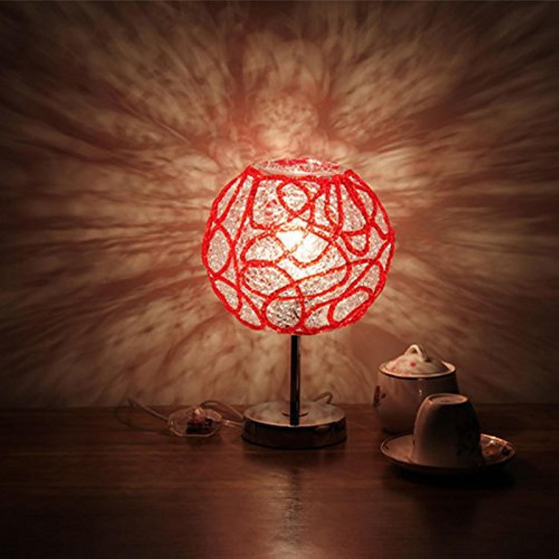 Modeen Kreatives Schlafzimmer Nachttisch Glas Tisch Licht Wohnzimmer Romantische Hochzeitszimmer Studie Dimmed Warm Licht Schreibtisch Lampe Hoch  30cm (11.81in) (Farbe   rot-Push button switch)