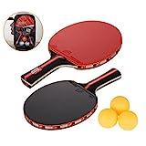 Amaza Raquette De Ping Pong Professionnel avec Sac Portable - 2 Pieces Raquettes de...