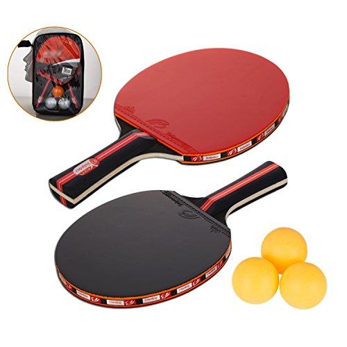 Amaza Set da Ping Pong Professionale con Borsa per Il Trasporto Portatile - 2 Racchette in Gomma Premium a Doppia Faccia + 3 Palline da Ping Pong per Allenatori, Amatori, Principianti, Esperti