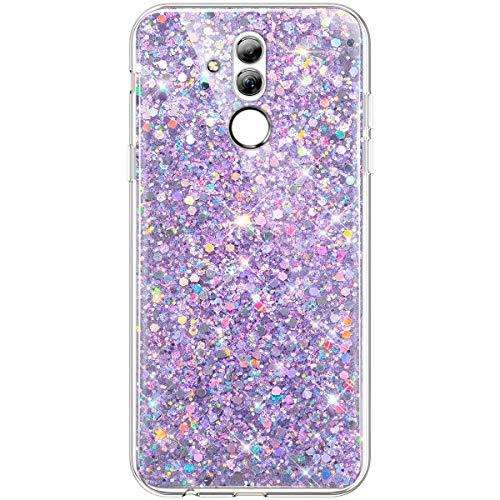 Hpory Cover Huawei Mate 20 Lite con Brillantini/Glitters, Custodia Huawei Maimang 7 Cover - Morbido Gel Caso Custodia in TPU - Back Case Antiurto Protezione Dust Resistant Bumper Cover, Viola