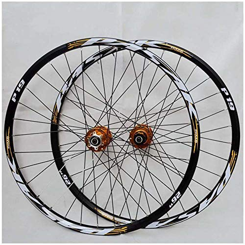 ZQTHL Bike Wheelset, 29/26 / 27.5 Inch Mountain Bicycle Wheel, Double Walled Aluminum Alloy MTB Rim Fast Release Disc Brake 32H 7-11 Speed Cassette,A,27.5in